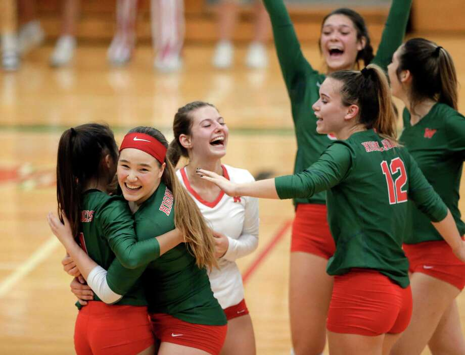 The Woodlands players celebrate winning their first match against Klein during their 6A district match at The Woodlands High School Tuesday, Oct. 15, 2019 in The Woodlands, TX. Photo: Michael Wyke / Contributor / © 2019 Houston Chronicle