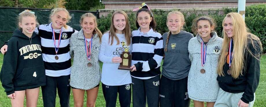 Trumbull's girls' cross country team placed second at the FCIAC Championships. Photo: Contributed Photo / Trumbull High Athletics / Trumbull Times