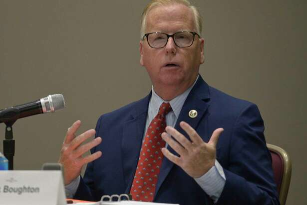 Republican incumbent Mark Boughton during the Chamber of Commerce Mayoral Debate with Democratic challenger Chris Setaro. Thursday night, October 10, 2019, in Danbury, Conn.