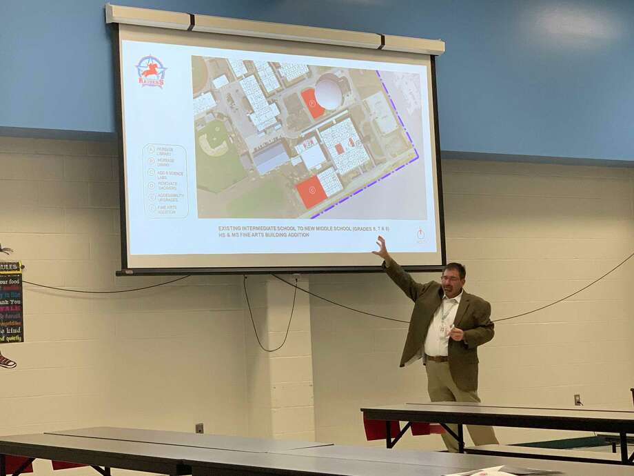Lumberton ISD Superintendent Gerald Chandler discusses the $78.8 million bond proposal during a public forum Tuesday night. Photo: Isaac Windes / The Enterprise