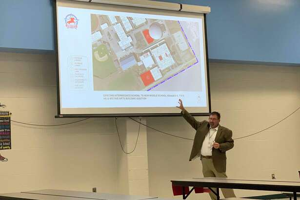 Lumberton ISD Superintendent Gerald Chandler discusses the $78.8 million bond proposal during a public forum Tuesday night.