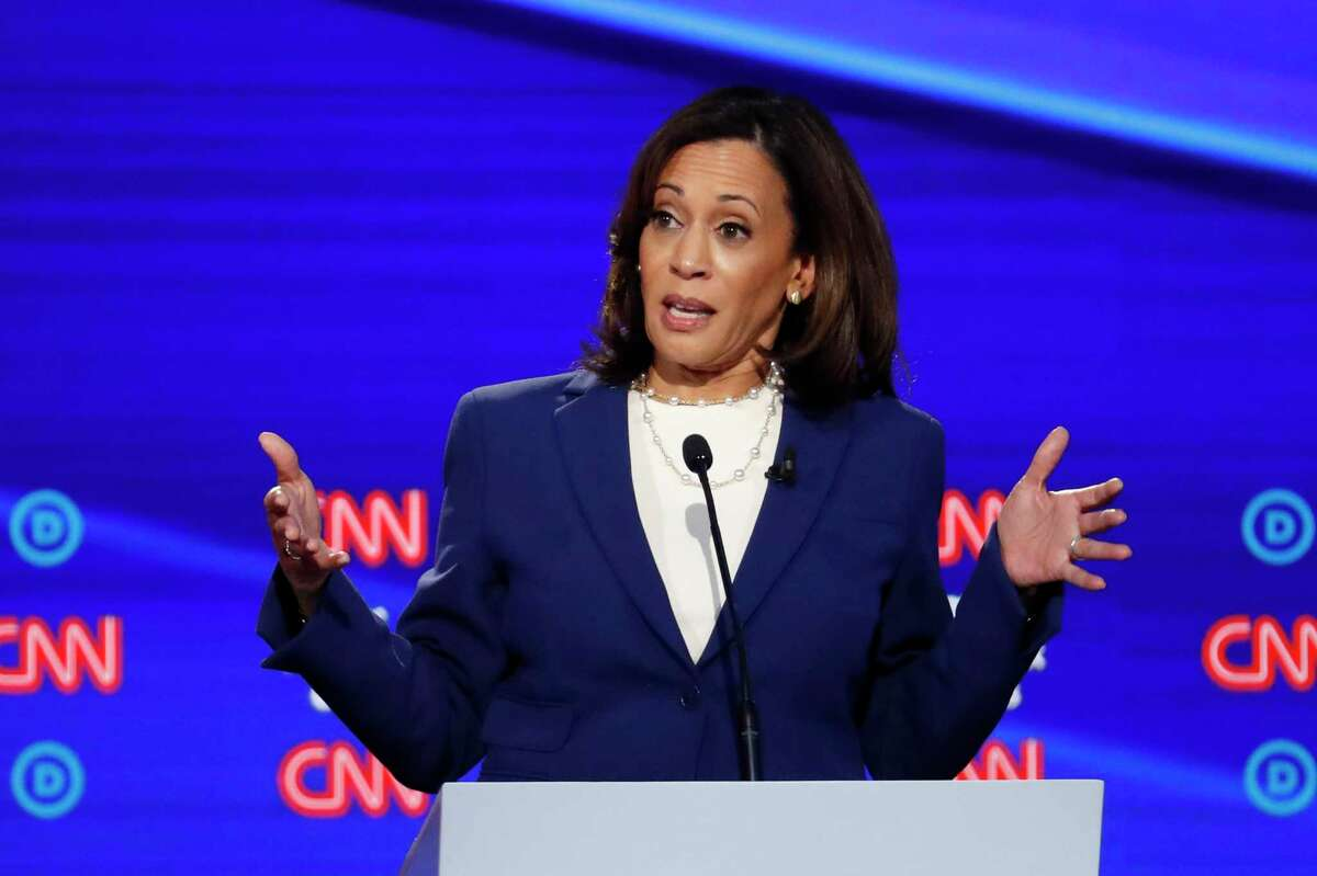 Democratic presidential candidate Sen. Kamala Harris, D-Calif., speaks during a Democratic presidential primary debate hosted by CNN/New York Times at Otterbein University, Tuesday, Oct. 15, 2019, in Westerville, Ohio.