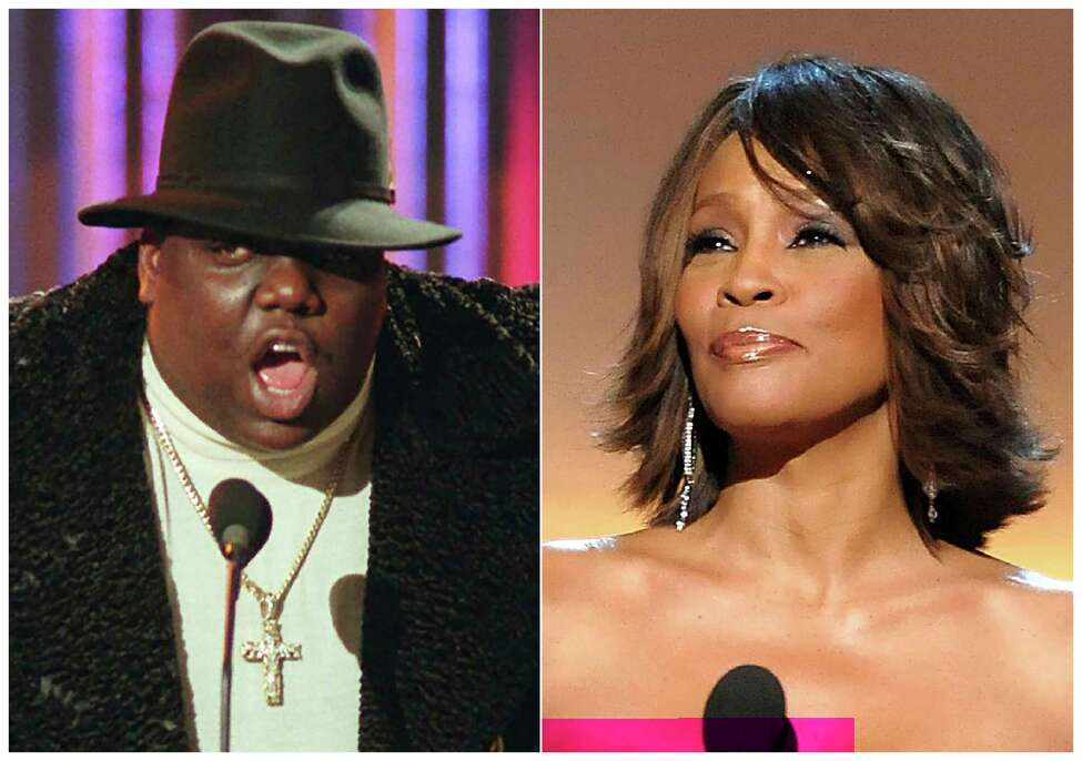 This combination photo shows Notorious B.I.G., who won rap artist and rap single of the year, during the annual Billboard Music Awards in New York on Dec. 6, 1995, left, and singer Whitney Houston at the BET Honors in Washington on Jan. 17, 2009. Houston and the Notorious B.I.G. are among the 16 acts nominated for the Rock and Roll Hall of Famea€™s 2020 class. (AP Photo)
