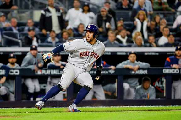 While caught in seventh-inning rundown, George Springer allows Jose Altuve and Michael Brantley to get to third and second base, respectively, before being tagged for the first out. A wild pitch and sacrifice fly would then give the Astros a 4-0 lead in Tuesday's Game 3 of the American League Championship Series.