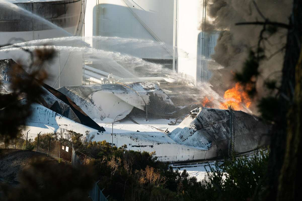 Fire damage is seen at the NuStar energy facility after an explosion in Crockett, Calif. on Tuesday, Oct. 15, 2019.