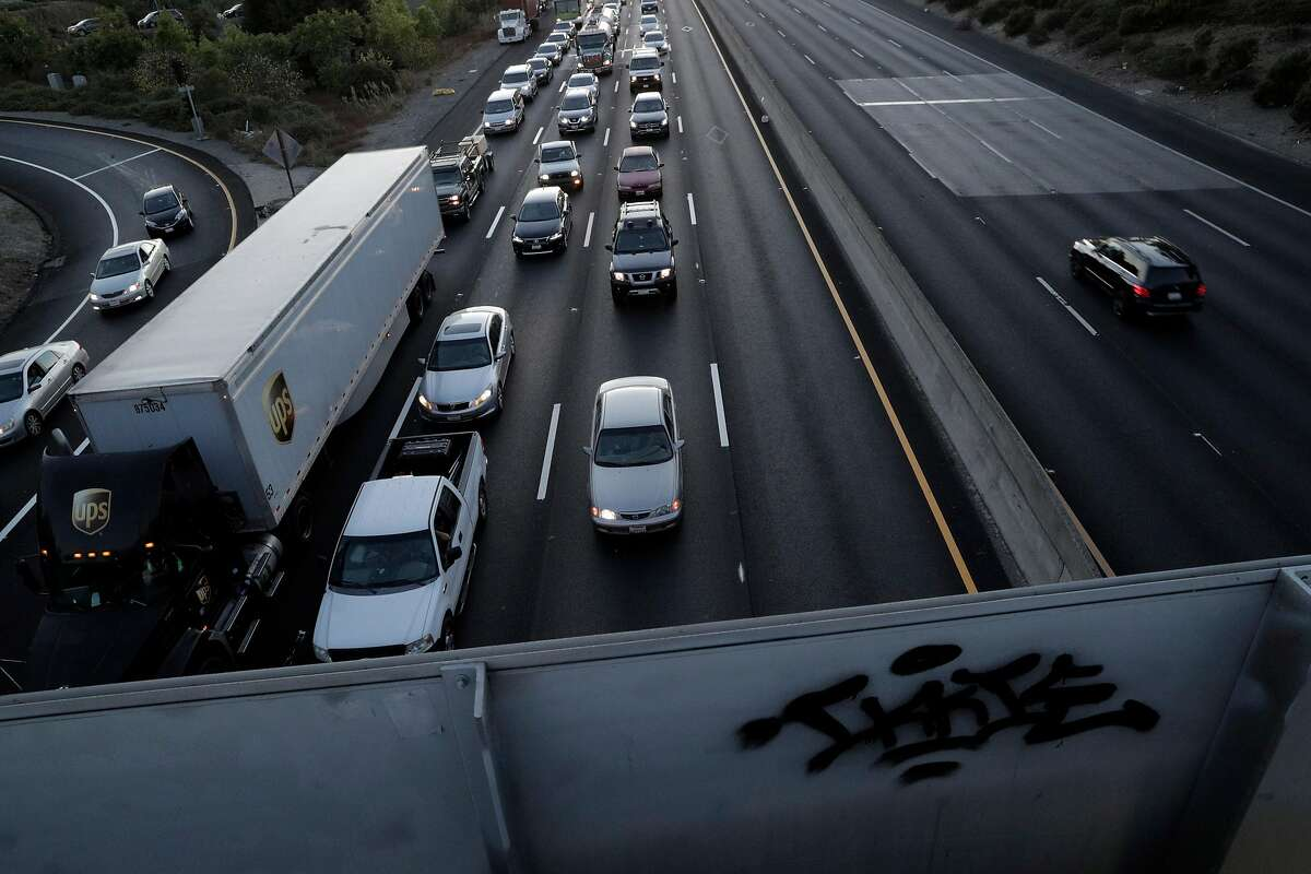 Traffic gridlocked on Eastbound I-80 at Appian Way after an explosion and fire at the NuStar Energy facility in Crockett, Calif., on Tuesday, October 15, 2019. Interstate 80 in the vicinity was shut down for hours causing gridlock on surrounding nearby streets and nearby residents were asked to shelter in place as thick black smoke possibly containing hazardous compounds filled the air in the area.