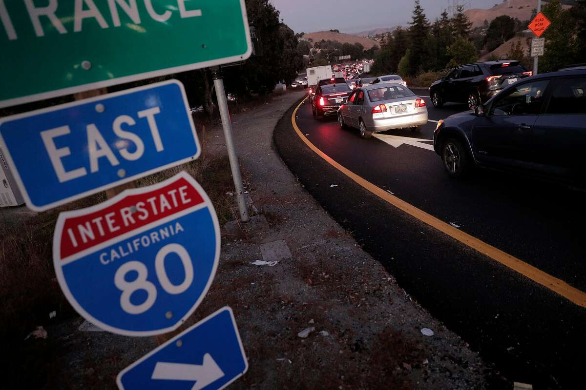 Traffic backs up on the onramp to I-80 at Appian Way after an explosion and fire at the NuStar Energy facility in Crockett, Calif., on Tuesday, October 15, 2019. Interstate 80 in the vicinity was shut down for hours causing gridlock on surrounding nearby streets and nearby residents were asked to shelter in place as thick black smoke possibly containing hazardous compounds filled the air in the area.