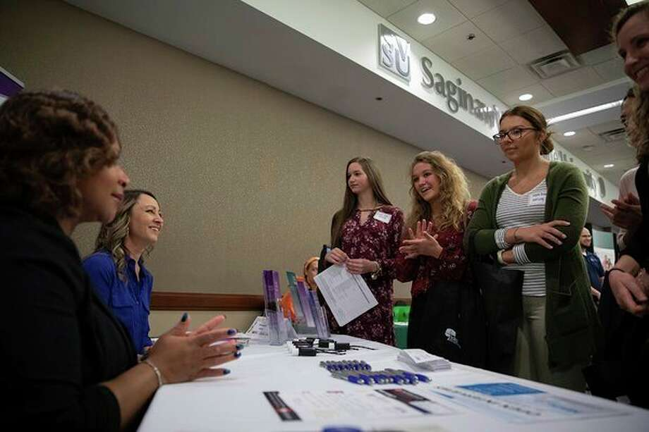 Employers and attendees network at SVSU's Spring University-wide Employment & Networking Fair in March 2019. The fall fair is planned for Friday, Oct. 18. (Photo provided/Kyle Will, SVSU)