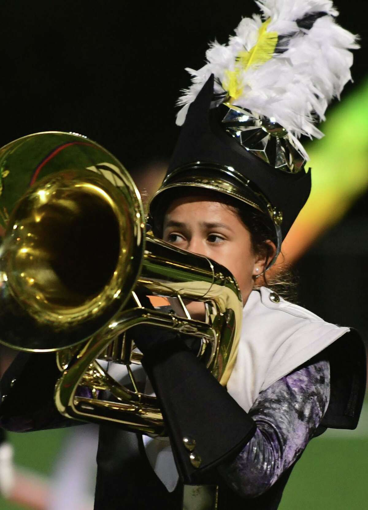 Trumbull High School Marching Bands perform their halftime field show as Norwalk High School hosts The Cavalcade of Bands Saturday, October 12, at the school in Norwalk