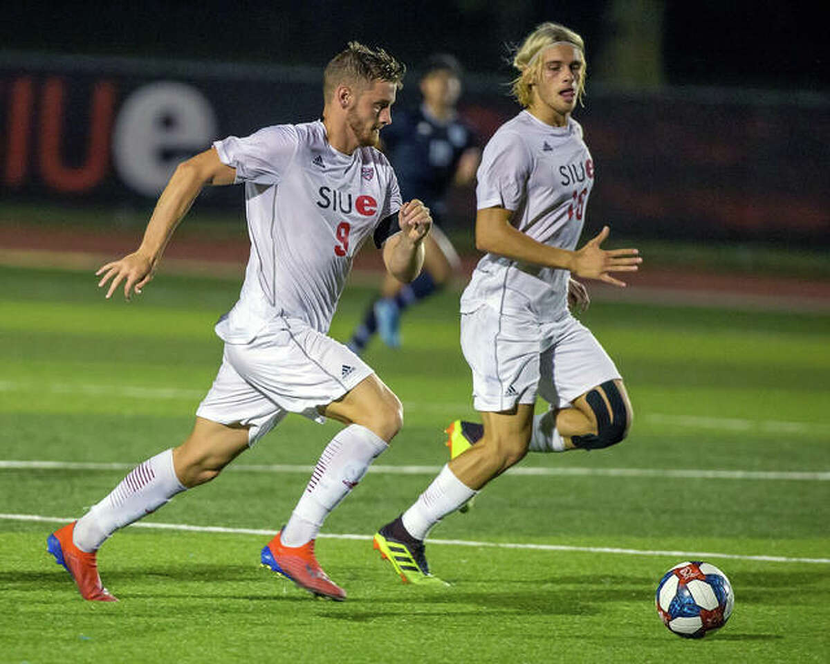 SIUE's Lachlan McLean, left, and Jorge Gonzalez each scored a goal in Tuesday night's overtime draw with the University of Wisconsin in Madison, Wisc.