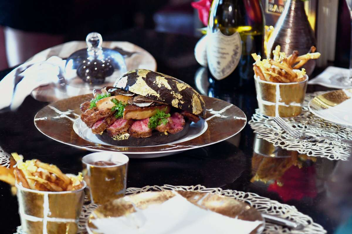 The Post Oak Hotel in Uptown has created a burger called The Black Gold, priced at $1,600. The wagyu burger, topped with foie gras and black truffles comes on a 24-karat gold flecked bun that is infused with caviar; burger is served with a bottle of 2006 Dom Perignon champagne.