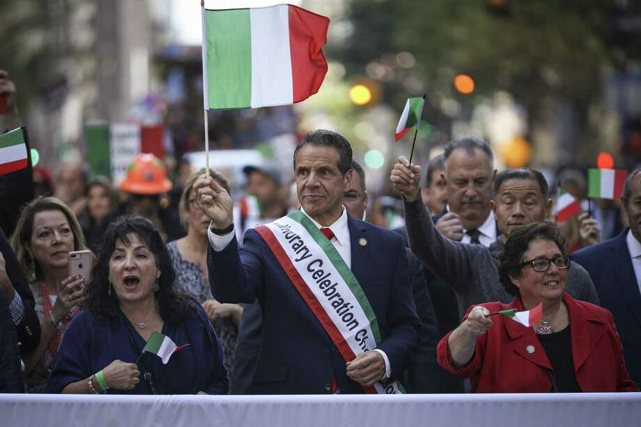 NEW YORK, NY - OCTOBER 14: New York Governor Andrew Cuomo marches in the 75th annual Columbus Day Parade in Midtown Manhattan on October 14, 2019 in New York City. Organized by the Columbus Citizens Foundation, the parade is billed as the world's largest celebration of Italian-American heritage and culture. Photo: Drew Angerer, Getty / 2019 Getty Images