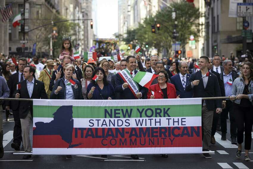 NEW YORK, NY - OCTOBER 14: New York Governor Andrew Cuomo marches in the 75th annual Columbus Day Parade in Midtown Manhattan on October 14, 2019 in New York City. Organized by the Columbus Citizens Foundation, the parade is billed as the world's largest celebration of Italian-American heritage and culture.