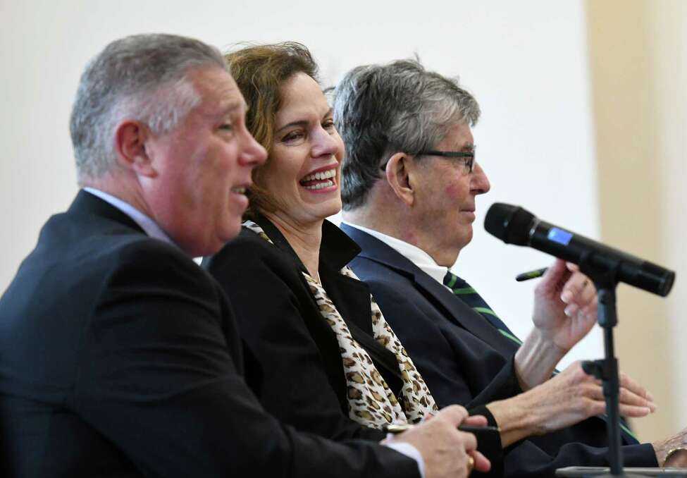 Assembly members John T. McDonald III, left, Patricia Fahy, center, and Sen. Neil Breslin, right, host a forum showcasing entrepreneurial businesses in the Capital Region on Wednesday, Oct. 16, 2019, at the new S.T.E.A.M. Garden coworking and incubator space in Albany, N.Y. (Will Waldron/Times Union)