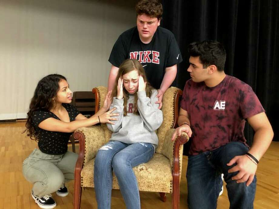 """The cast of the Jonathan Law High School Drama Club's upcoming production of """"The Haunting of Hill House"""" features Sophie Maselli as Eleanor Vance, Tyanna Xavier as Theodora, Joey Soto as Dr. Montague and Justin Amaro as Luke Sanderson. Photo: Jonathan Law High School / Contributed Photo / Milford Mirror Contributed"""