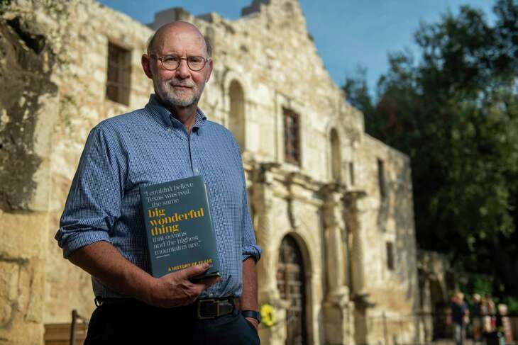 """Stephen Harrigan, author of """"Big Wonderful Thing,"""" a new history of Texas is photographed at the Alamo on Tuesday, Oct. 15th, 2019. Stephen Harrigan is an American novelist, journalist and screenwriter. He is best known as the author of the bestselling The Gates of the Alamo, for other novels such as Remember Ben Clayton and A Friend of Mr. Lincoln, and for his magazine work in Texas Monthly."""