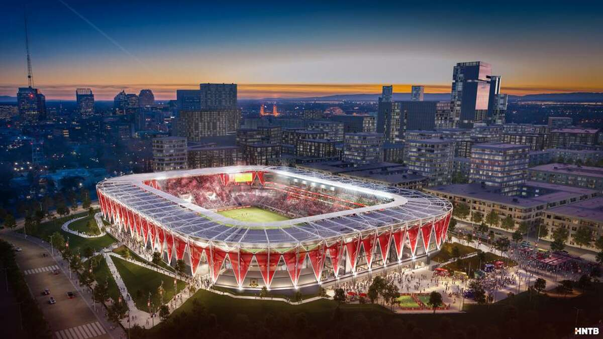 A rendering of the new Republic FC stadium that will be located at the Sacramento Railyards near downtown Sacramento. The team said it will be ready for their first season in MLS in 2022.