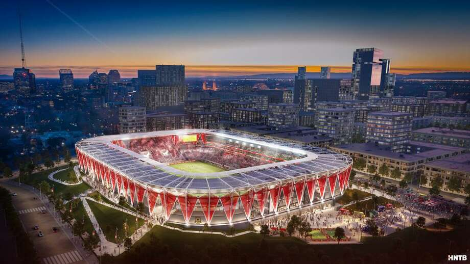 A rendering of the new Republic FC stadium that will be located at the Sacramento Railyards near downtown Sacramento. The team said it will be ready for their first season in MLS in 2022. Photo: Courtesy Sacramento Republic FC