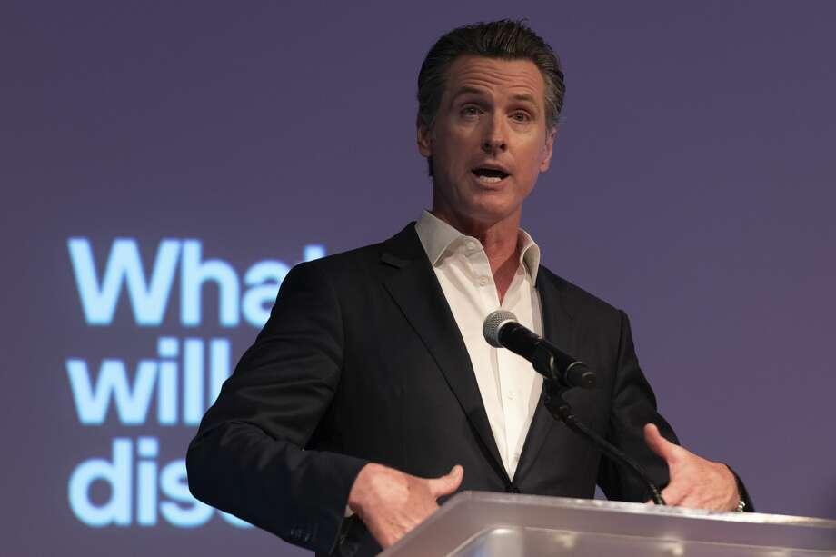 California Governor Gavin Newsom speaks at Planets Explore 19 Conference in San Francisco, California on October 15, 2019. The Governor talks about the importance of protecting our environment and enhance the states capability at dealing with natural disasters such as wild fire. Photo: NurPhoto/NurPhoto Via Getty Images