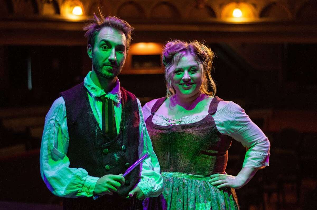 Jason Jacoby as Sweeney Todd and Molly Rose McGrath as Mrs. Lovett in