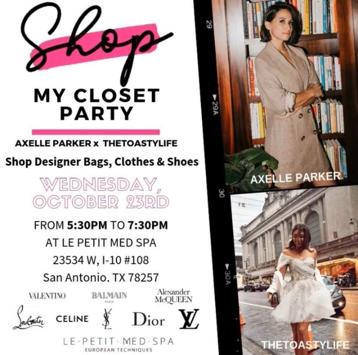 Axelle Francine-Parker is hosting a closet purge party at her Le Petit Med Spa. She launched the business earlier this year on the outskirts of town while husband Tony Parker played for the Charlotte Hornets after 17 seasons with the Spurs. The Oct. 23 shopping event will include a