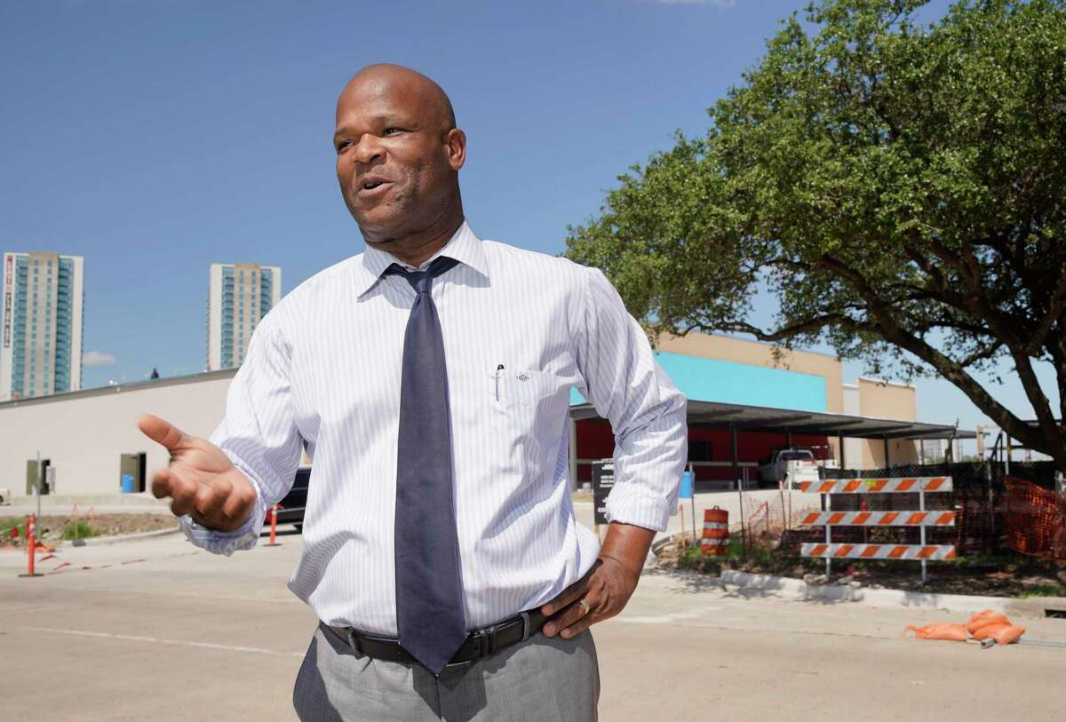 Dwight Boykins, councilman and mayoral candidate, talks near the HEB under construction at 288 and North MacGregor Way Tuesday, Sept. 24, 2019, in Houston.