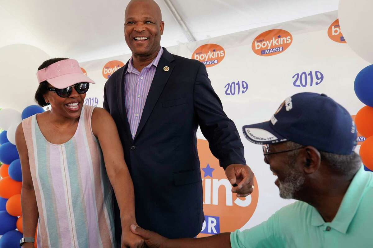 Houston Councilman Dwight Boykins with his wife, Genora Boykins, greet supporters during his campaign kickoff Saturday, June 8, 2019, in Houston.