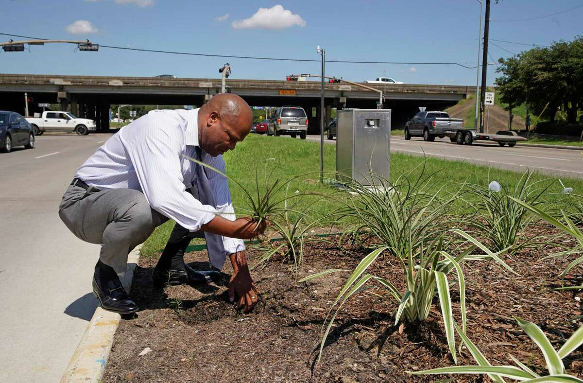 Dwight Boykins, councilman and mayoral candidate, repositions a plant in an esplanade on Martin Luther King Blvd. at 610 Tuesday, Sept. 24, 2019, in Houston. He was there to talk about the area and noticed the plant had been uprooted, possibly from recent rains.
