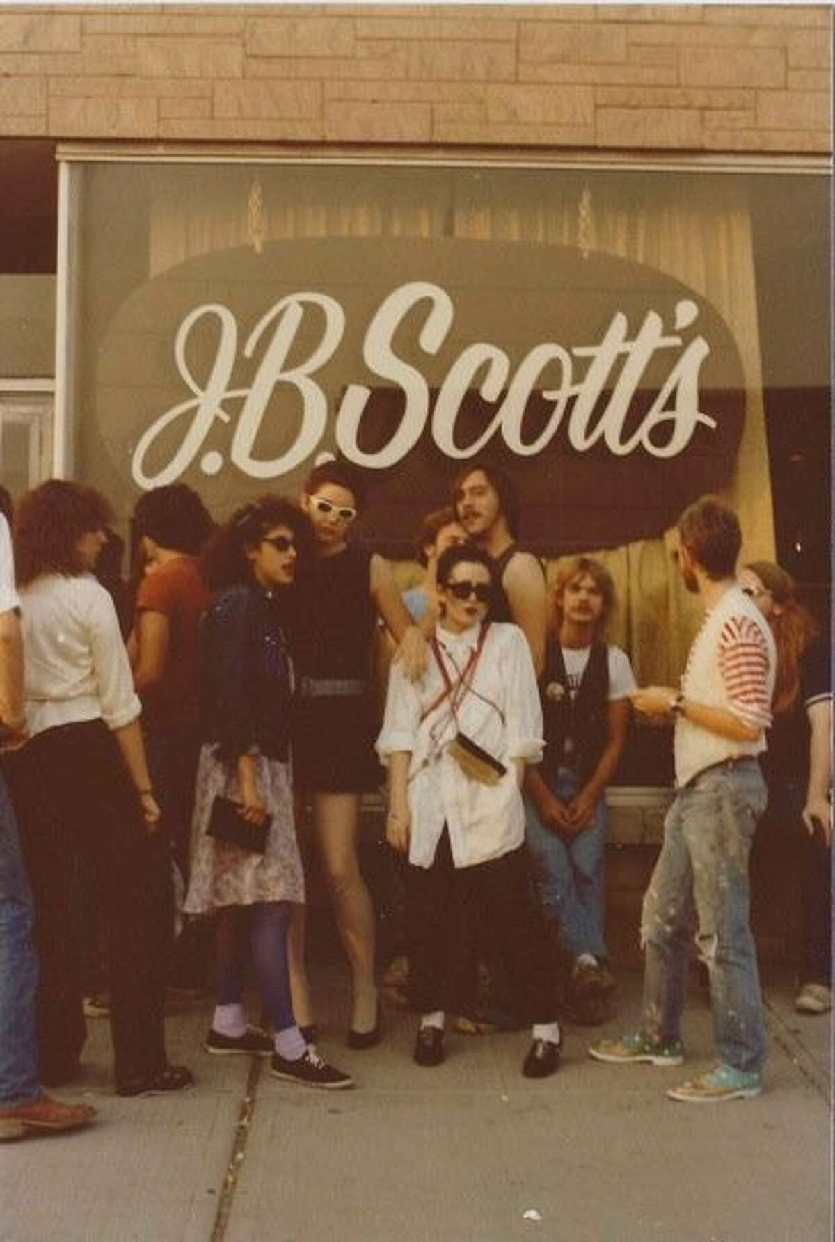 Outside J.B. Scott's in the early 1980s. (Credit Patti Quade)