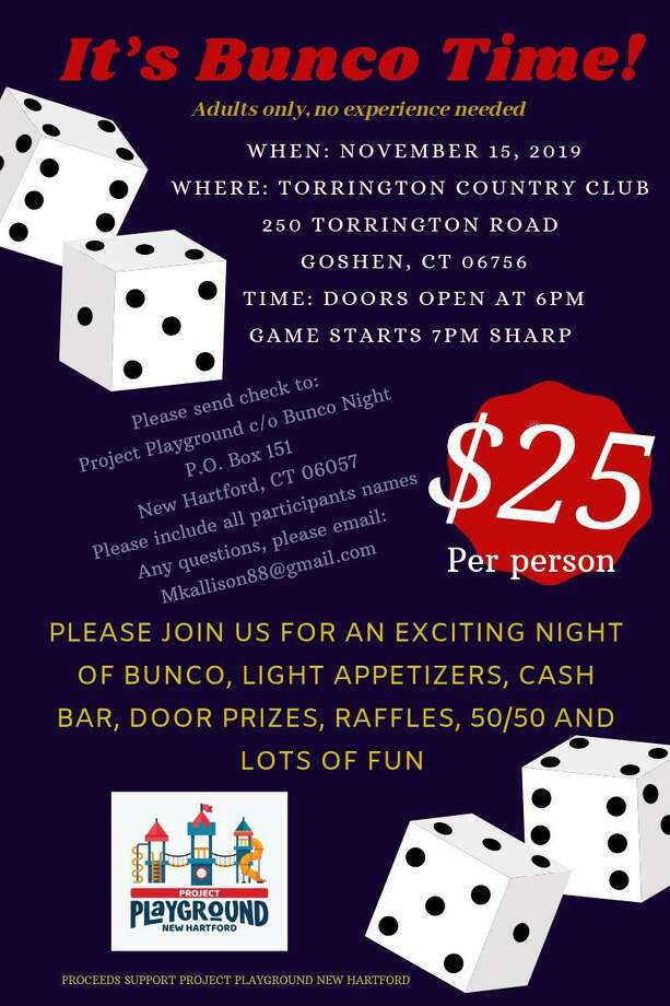 Bunco Night to support Project Playground in Barkhamsted, a community project, will be held Nov. 15 at the Torrington Country Club in Goshen. Tickets are now available. Photo: Contributed Photo