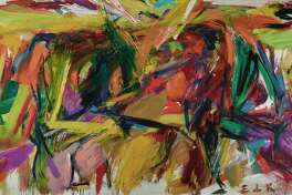 "Elaine de Kooning (1918-1989). ""Bullfight,"" 1959 oil on canvas 77 3/8 in. x 130 1/2 in. (197.7 x 331.47 cm).