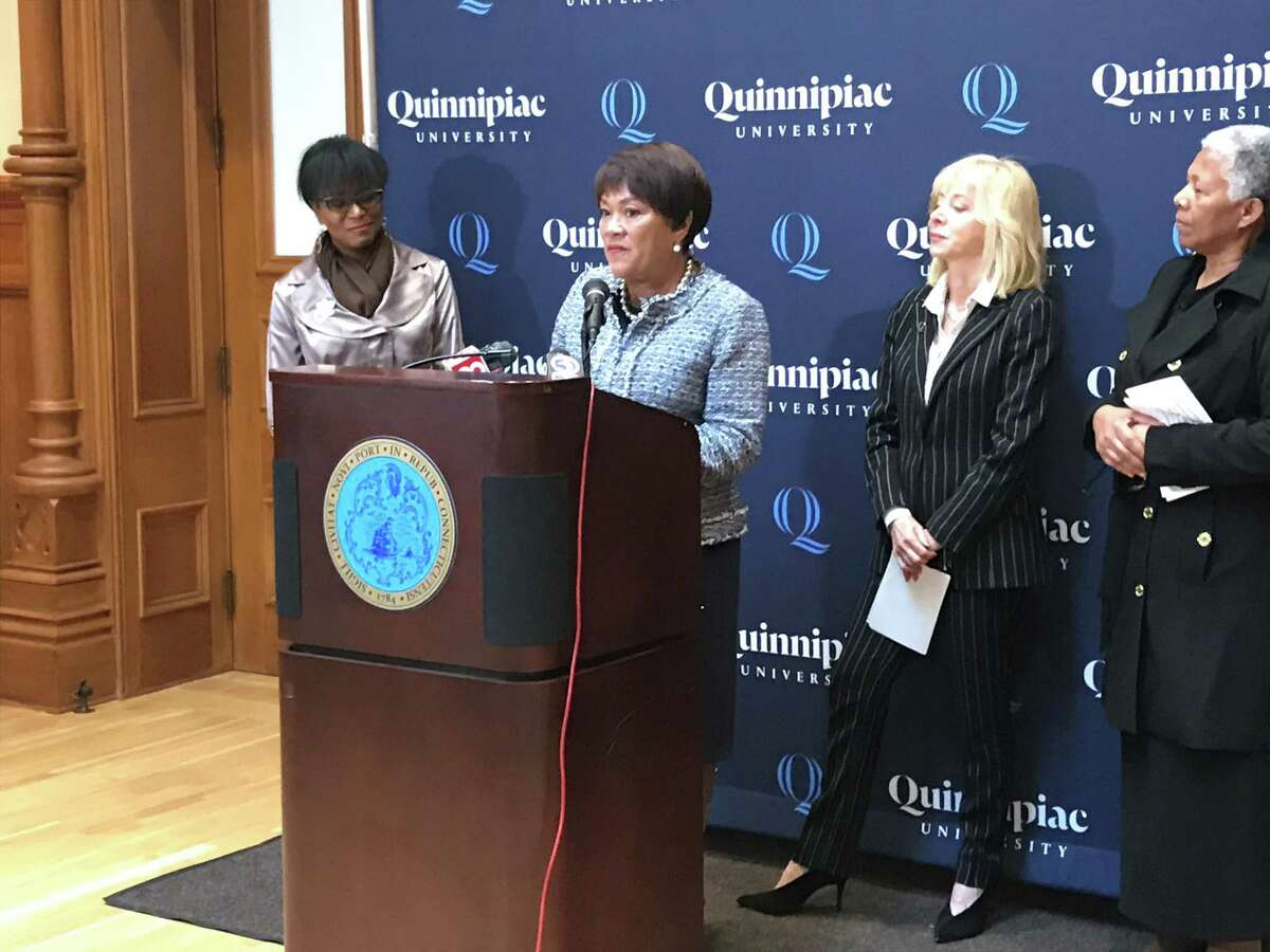 Mayor Toni Harp speaks about a newly announced partnership between New Haven Promise and Quinnipiac University on Oct. 16, 2019.