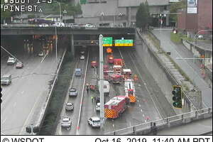 Traffic camera of a crash on Oct. 16, 2019 that blocked three lanes of traffic across Interstate 5 near the Seattle Convention Center.