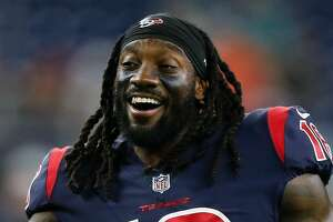HOUSTON, TX - OCTOBER 25: Sammie Coates #18 of the Houston Texans warms up before playing the Miami Dolphins at NRG Stadium on October 25, 2018 in Houston, Texas. (Photo by Bob Levey/Getty Images)