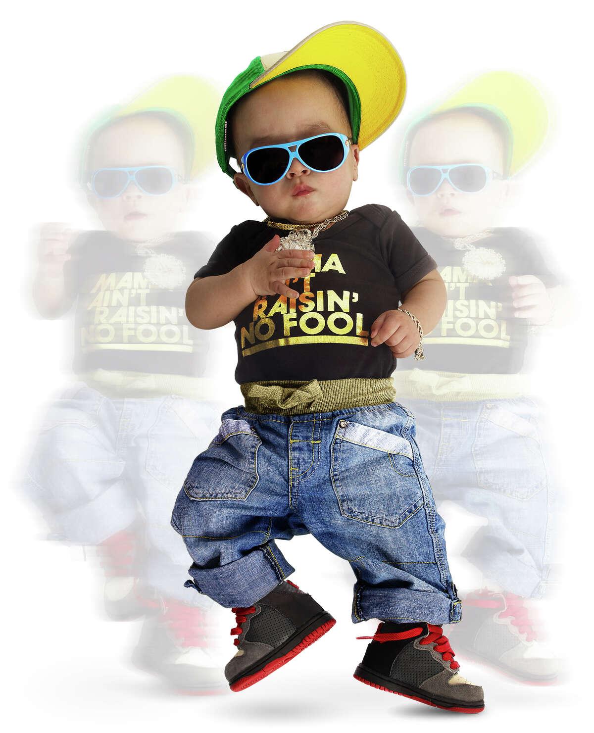 A baby dancing.