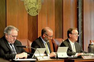 Jefferson County commissioners address agenda items during a 2018 meeting at the courthouse. Enterprise file photo