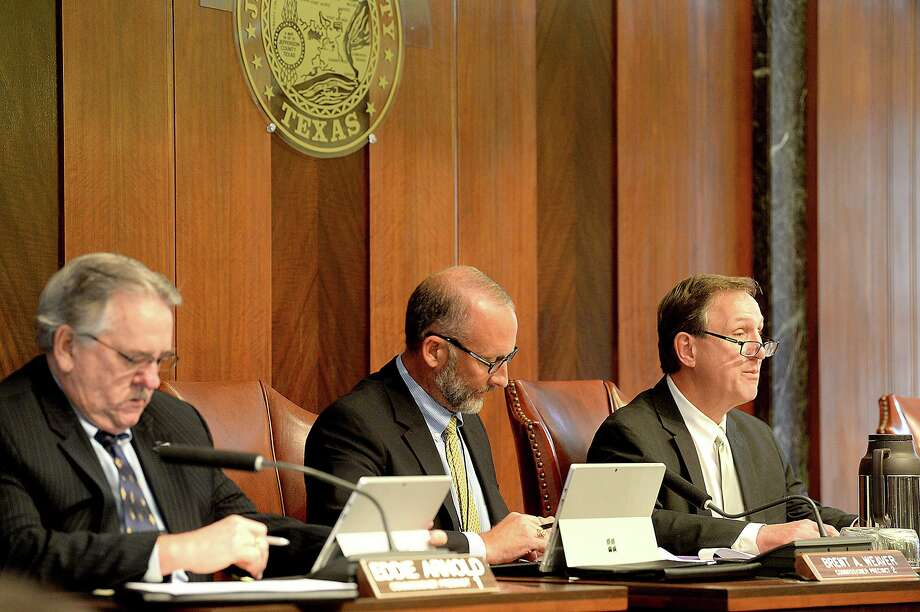Jefferson County commissioners address agenda items during a 2018 meeting at the courthouse. Enterprise file photo Photo: Kim Brent / Kim Brent/The Enterprise / BEN