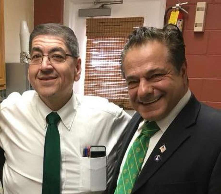Ansonia Housing Authority Director Steven Nakano, left, with Ansonia Mayor David Cassetti in a photo posted on the city's Facebook page last March. Photo: Facebook / City Of Ansonia