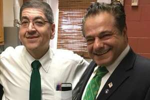 Ansonia Housing Authority Director Steven Nakano, left, with Ansonia Mayor David Cassetti in a photo posted on the city's Facebook page last March.