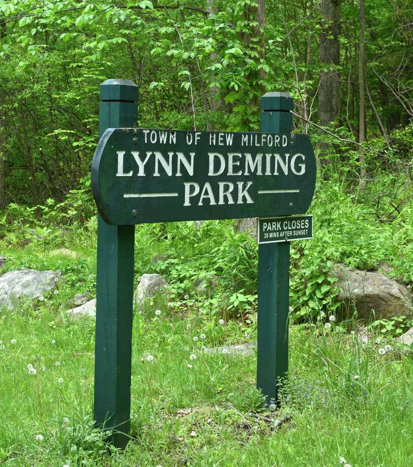 File photo of a sign at Lynn Deming Park, in New Milford, Conn. May 23, 2017. Photo: H John Voorhees III / Hearst Connecticut Media / The News-Times