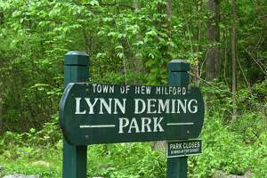 File photo of a sign at Lynn Deming Park, in New Milford, Conn. May 23, 2017.