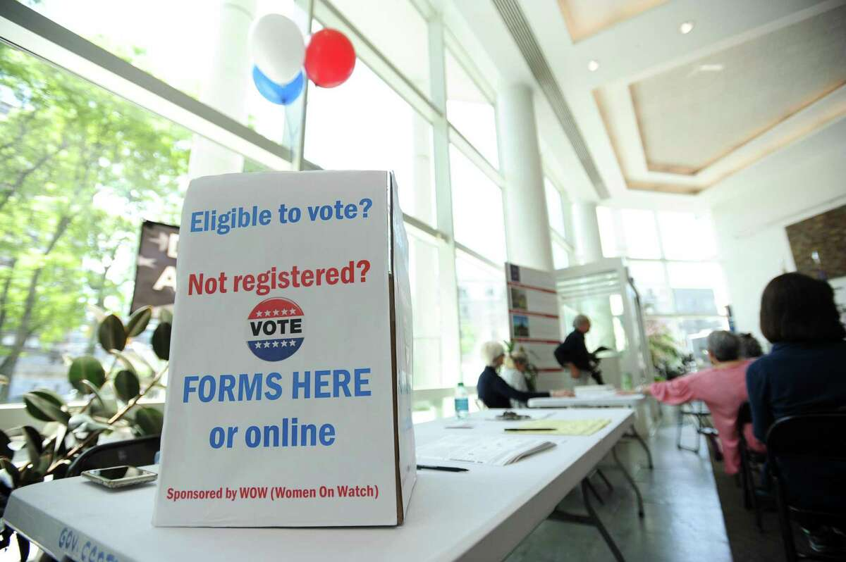 Stamford mayor David Martin proclaimed the month of June as Voter Registration/Voter Turnout month during a press conference inside Government Center in downtown Stamford, Conn. on Monday, May 21, 2018.