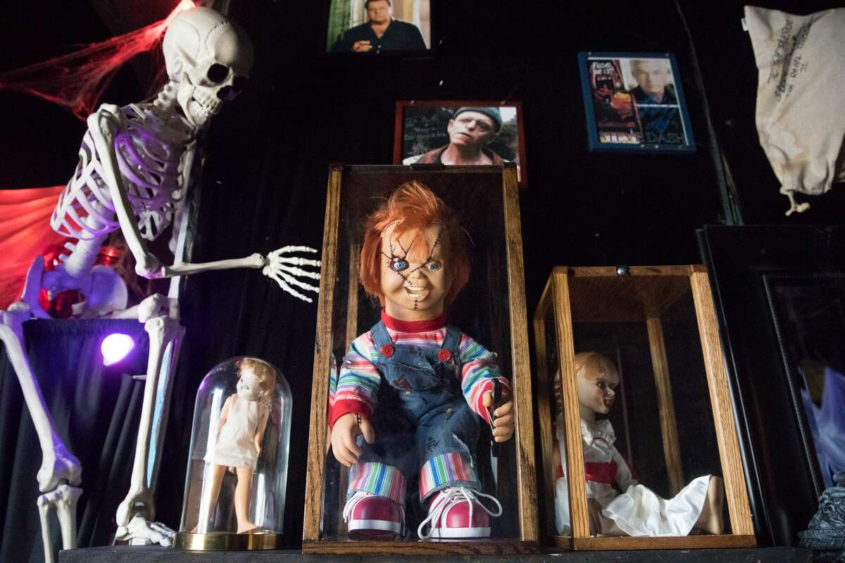 A Chucky doll was one of the horror movie characters on display at The Avenue. Tana and Curtis Howard own The Avenue, a neighborhood bar in the Temescal neighborhood of Oakland. Each year the couple puts together one of the most elaborate halloween displays in the city.