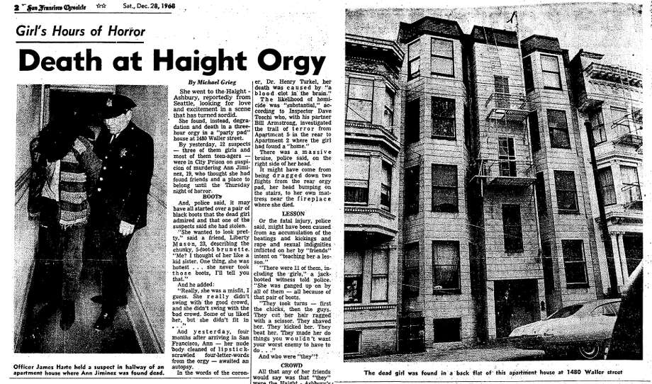 A screenshot from the Dec. 28, 1969 San Francisco Chronicle after the death of Ann Jiminez in San Francisco's Haight-Ashbury. Four young men were charged with raping and murdering her, but none were convicted. Photo: San Francisco Chronicle Screenshot