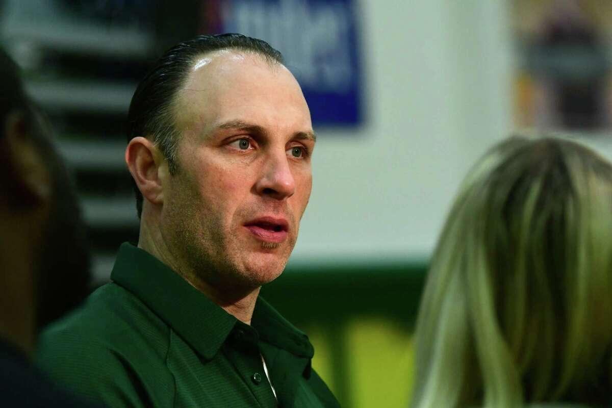 Head coach Carmen Maciariello speaks to reporters during Siena men's basketball media day on Wednesday, Oct. 16, 2019 in Loudonville, N.Y. (Lori Van Buren/Times Union)