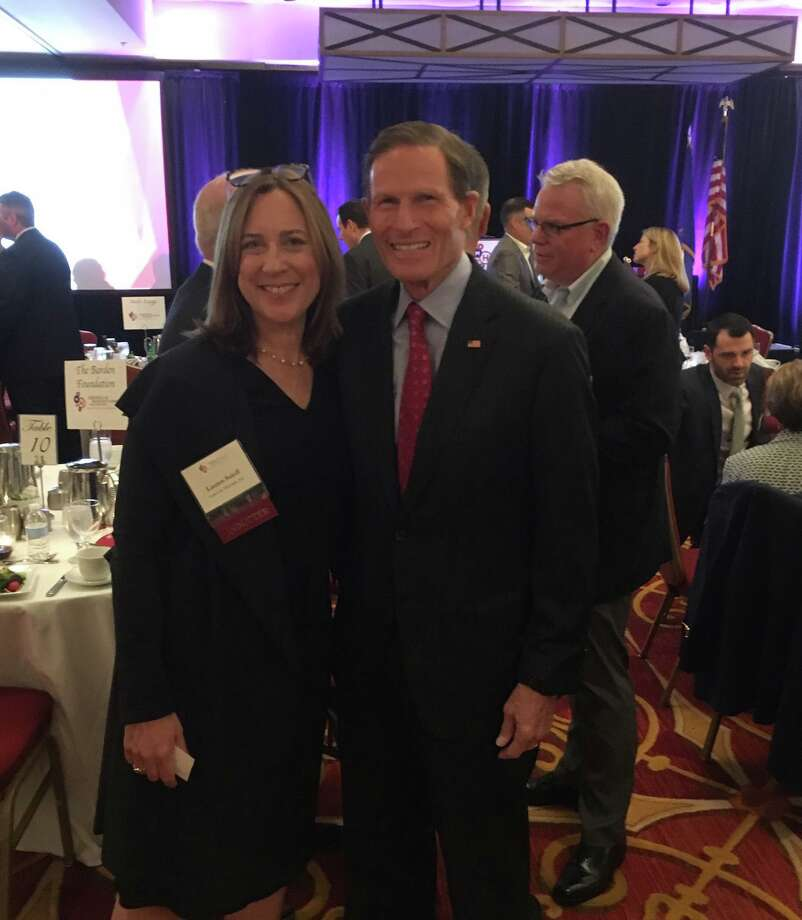 Lauren Soloff, president of Sonics & Materials Inc., with U.S. Sen. Richard Blumenthal during an American Manufacturing Hall of Fame ceremony on Oct. 10, 2019. Photo: Contributed Photo