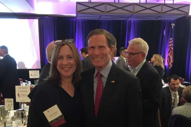 Lauren Soloff, president of Sonics & Materials Inc., with U.S. Sen. Richard Blumenthal during an American Manufacturing Hall of Fame ceremony on Oct. 10, 2019.
