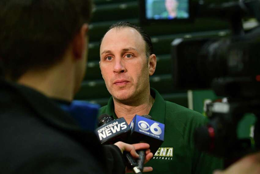 Head coach Carmen Maciariello speaks to reporters during Siena men's basketball media day on Wednesday, Oct. 16, 2019 in Loudonville, N.Y. (Lori Van Buren/Times Union)