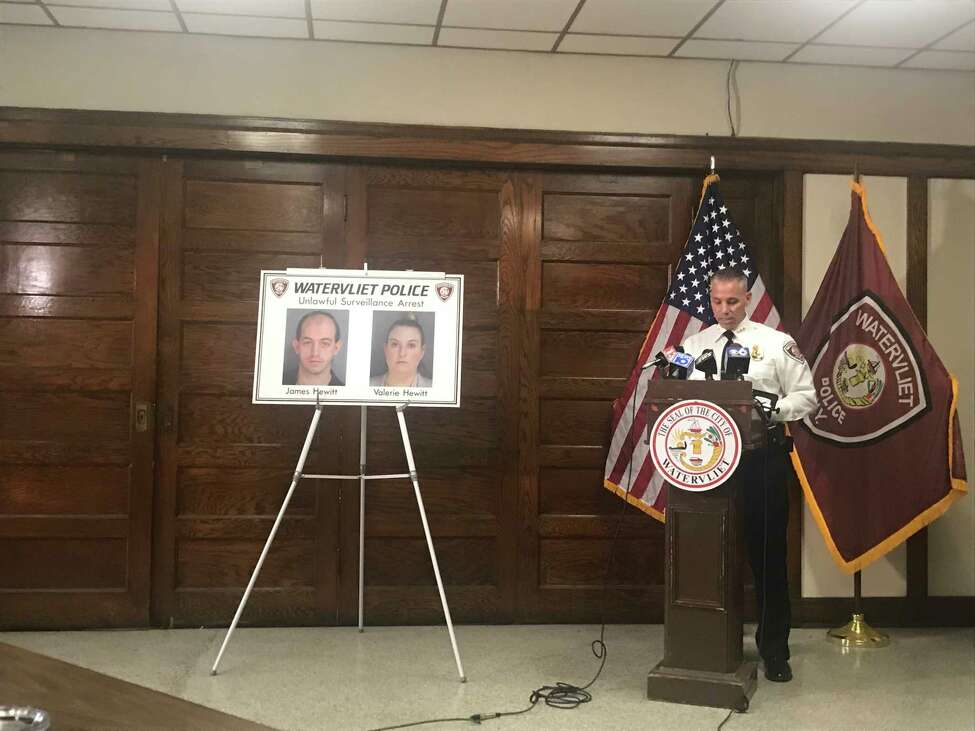 Watervliet Police Chief Anthony Geraci speaks Wednesday Oct. 16, 2019 at a press conference at City Hall about the arrests of husband and wife James C. Hewitt and Valerie N. Hewitt for illegal filming of women and children in a grocery store bathroom.
