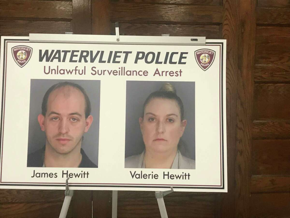 Pictures of husband and wife James C. Hewitt and Valerie N. Hewitt who have been charged by Watervliet Police and in Warren County by the sheriff's office for alleged illegal filming of women and children in a grocery store bathroom in Watervliet and at Great Escape Six Flags amusement park in Queensbury.